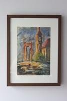 Drescher G.  Erzsébet Híd akvarell igényes keretben 1961. 30x45 cm