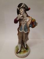 Nápolyi rokokó jelzett porcelán antik férfi figura Napóleon kalapban 17 cm 1880-1900 2.