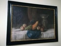 Murin Vilmos (1891-1952): Sárgadinnyés, szőlős csendélet olajvászon kép