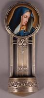Ezüst szenteltvíztartó festett porcelán betéttel
