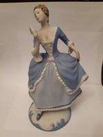 Royal Dux gumibélyegzős biszkvit legyezős hölgy 21 cm