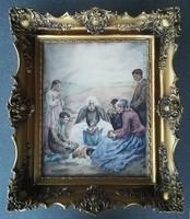 Révész Imre (1859-1945): Ebéd előtti ima HIBÁTLAN színes rézkarc vastag blondel keretben