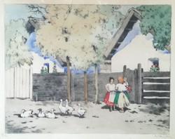 """Csillag József (1894-1977): """"Falu"""" néprajzi színes rézkarc"""