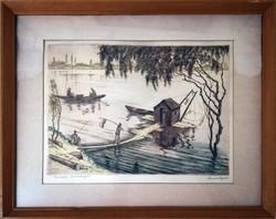 Conrád Gyula (1877-1959): Budafoki halászkunyhó színes rézkarc