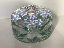 Antik zománcfestésű üveg fedeles tartó