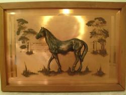 E 10 Feng Shui tükör plasztikus lóval galériás ritkaság 63 X 46 CM