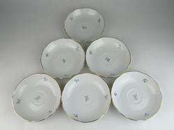 0R305 Virágmintás Herendi porcelán kistányér 6 db