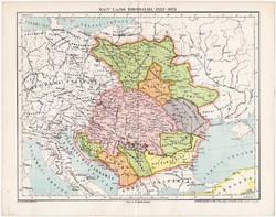 Nagy Lajos birodalma térkép 1382, kiadva 1897, antik, Magyarország, Pallas lexikon melléklet, régi