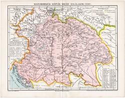 Magyarország térkép 1490, kiadva 1897, eredeti, Mátyás, Pallas lexikon melléklet, történelem. régi