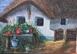 Eredeti szentendrei olajfestmény,kortárs művésztől,Mezei Sándor: A ház eleje - original oilpainting