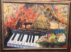 Eredeti szentendrei olajfestmény,kortárs művésztől,Mezei: Őfelsége a ZONGORA