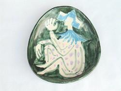 Art deco bohócos mázas kerámia falitányér