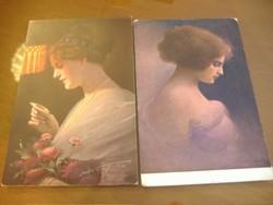 Tükröm, tükröm.. használt lap: 1914. IV. 10. Kicsit szomorú vagyok. Két képeslap egyben