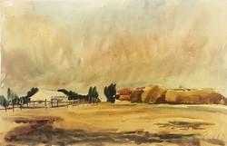 Cs. Pataj Mihály: Tanya a mezőn, akvarell festmény