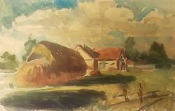 Cs. Pataj Mihály: Tanya, akvarell festmény