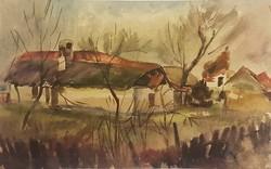 Cs. Pataj Mihály: Tanyaudvar, akvarell festmény