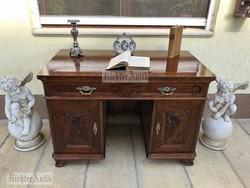 Antik bútor, felújított Bécsibarokk íróasztal 02 felújított.