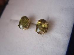 Tömör arany fülbevaló, nagyon ritka, demantoid = gyémánt gránát kövekkel - nagy
