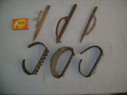 Régi, kukorica morzsoláshoz használt paraszti eszköz - hat darab