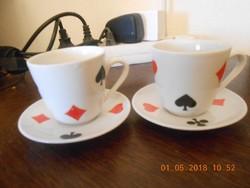 Zsolnay porcelán kártyamintás kávés csésze és kistányér 2 db