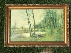 Gyönyörű fa képekeret antik nyomattal, 91,5 x 43 cm.