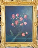 Murin Vilmos / Rózsacsendélet üveg vázában