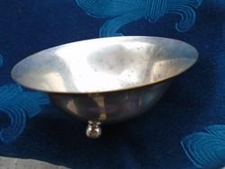 Ezüstözött kalapált kis fűszer tartó tálka-3 gömb lábacskán-3,5x9,3 cm