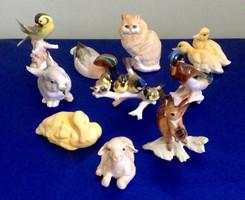 10 db-os NÉMET HUTSCHENREUTHER PORCELÁN FIGURA GYŰJTEMÉNY (bárány, macska, madár, mókus, nyúl, stb.)