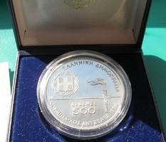 500 Drachmai- Ag900- PP-UNC-XXIII Summer Olympics,1984, Los Angeles