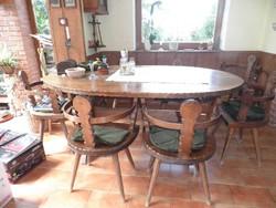 Étkező,ebédlő garnitúra: nagy asztal, 8 székkel