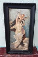 Lotz Károly szignós festmény, Múzsa.