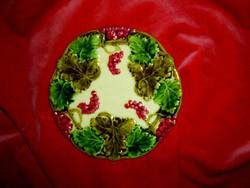 Szecessziós jelzett majolika  fali tányér