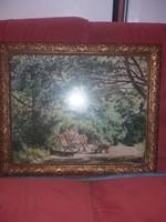 Boemm Ritta szignós olajfestmény, csodás keretben, üveg mögött