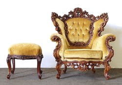 0R706 Gyönyörű rokokó fotel puffal