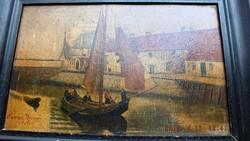 Szignált,1895 (?) ,23x38 -s olaj Fa EREDETI