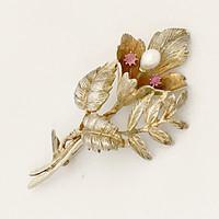 Nagy Antik Aranyozott Ezüst Német Bross Gyöngy Rubin Virág