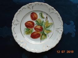 Birodalmi-kétfejes sas jelzéssel-egyedi,kézzel festett gyümölcsmintás,dombormintás tányér-15 cm