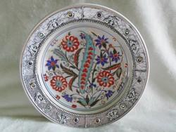Kézzel festett, aranyozott, ékkövekkel díszített török porcelán  24 cm
