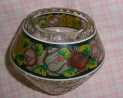 Antik Csiszolt -kézzel festett kristály  váza