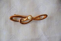 Art deco bross kitűző gyöngy dísszel