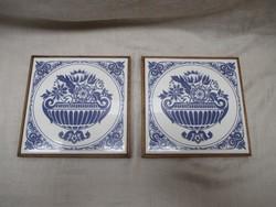 Kerámia edényalátét -kék virágmotívumos16 x 16 cm