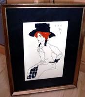 Madame. Attraktív vegyes technikájú kép kerettel 32x22  cm ÁRESÉS
