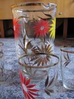 Kézi festésű üvegkancsó + 4 db  pohár