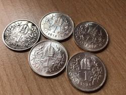 Ezüst 1 korona 1912,13,14,15,16 egyben