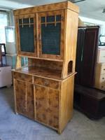 Vintage régi fenyő konyhaszekrény kredenc vitrines szekrény
