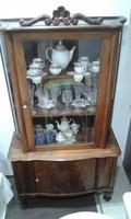 Antik, intarziás, diófa, vitrines tálaló szekrény, felújított