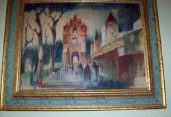 Régi város 51x41 akvarell szignós LEÁRAZÁS
