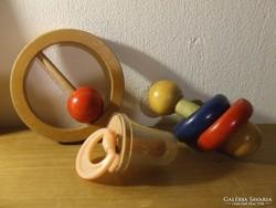Régi, retro baba játékok-csörgő, cumi