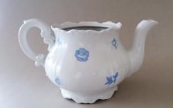 Régi Zsolnay porcelán teáskanna kék virágos kanna barokk kiöntő