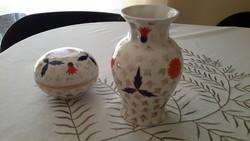 Antik zsolnay porcelán váza +bonbonier